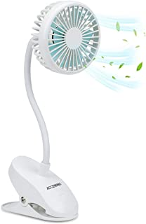 USB Portable Clip On Stroller Fan, 3 Speeds Flexible Bendable Mini Personal Desk Electric Fans with 2000mAh Rechargeable Battery Operated Quiet Cooling Oscillating Fans for Bed, Dorm, Car (White)