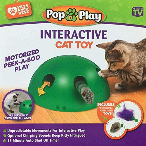 Ysimee Katzenspielzeug Elektrisch, Interaktive Bewegung Spähen Sie EIN Boo-Katzenspielzeug,Teaser-Maus-Quietschgeräusch Optionales automatisches Abschalten des Katzenmaus-Trainingsspielzeugs Grün