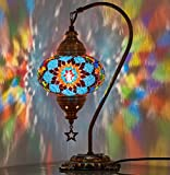 DEMMEX 2020 Turkish Moroccan Mosaic Table Lamp with US Plug & Socket, Swan Neck Handmade Desk Bedside Table Night Lamp, Decorative Tiffany Lamp Light, Blue
