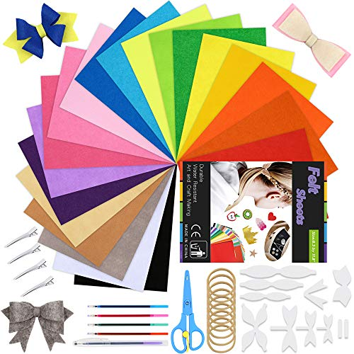 Pllieay 71 Pieces Stiff Felt Fabric Sheets Baby Shower Bow Tie Headband Making Kit, Including Nylon Headbands and Templates for Toddlers Kids