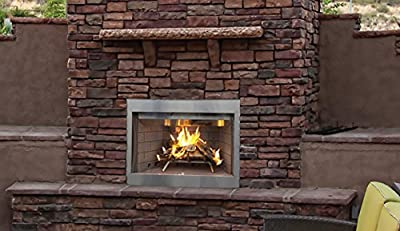 "Superior WRE3036WS 36"" Outdoor Wood Burning Fireplace, White Stacked Refractory Panels"