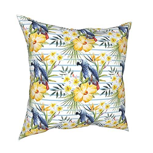 Shichangwei Parrot Orchids Hibiscus Flower Fundas de Almohada 18x18 Pulgadas Funda de cojín Suave Decorativa para sofá Cama Coche