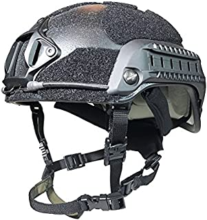 Phalanx BLACK Elite Series Tactical Bump Helmet w/Rails, NVG/Camera Mount and Loop for Patches, Strobes etc.