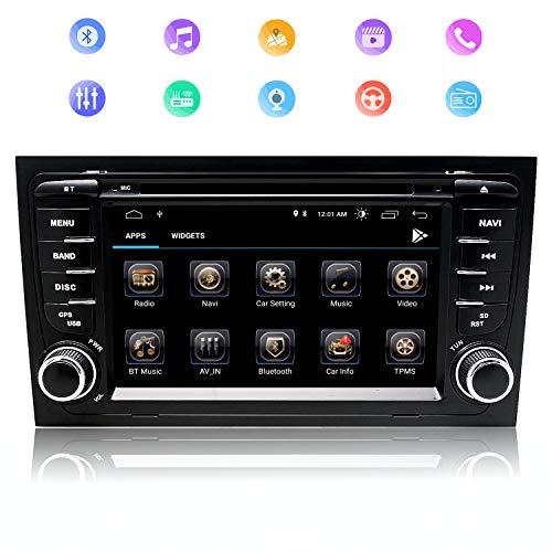 Autoradio de Coche de 7 Pulgadas Android 9.0 Procesador de Cuatro Núcleos para Audi A4, Pantalla Táctil Navegación GPS RAM2GB ROM32GB WiFi DVD CD Bluetooth FM Am RDS USB SD CANBUS Control del Volante