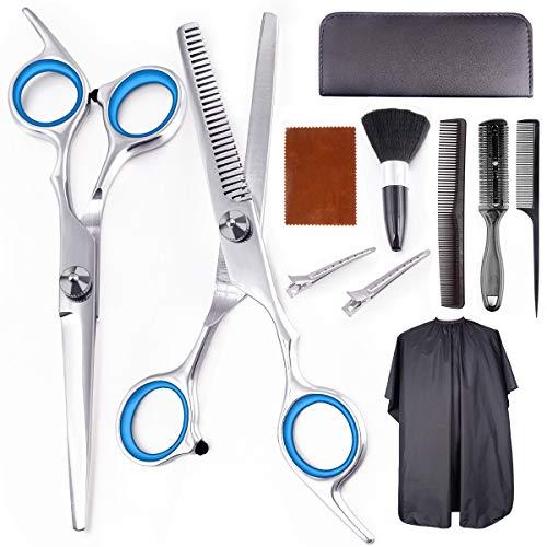 UMIKU Professional Hair Cutting Scissors Set 11 PCS Haircut Scissors Multi-Use Haircut Kit Scissors Thinning Shears Straight Hair Cutting Shears Set for Salon Barber Home Hair Shears for Women Men