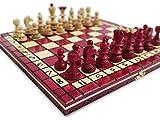 KHAPLO ® – Ajedrez de Madera – Juego de Mesa – Ajedrez para Niños y Adultos - Tablero Ajedrez Hecho a Mano – 31 x 31 cm – Modelo Roma – Rojo – Chess Set – Ajedrez de Viaje Plegable