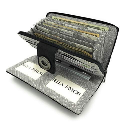 Bella Taylor Microfiber RFID Wristlet Cash System Wallet for Cash Envelope Budgeting, Midnight Black