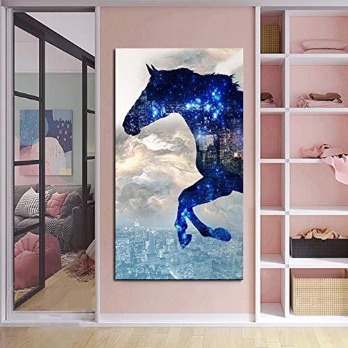 cuadros decoracion salon Pared Arte Cuadros de animales pinturas en lienzo abstracto azul cabeza de caballo arte de la pared decoración de la sala de estar carteles Pintura decoración -16x24in
