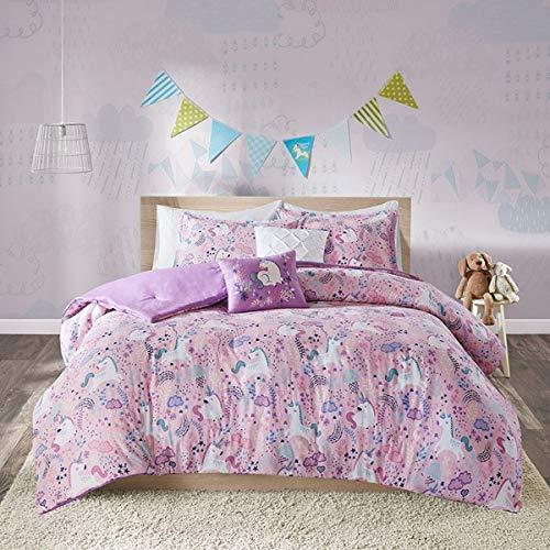Kids Bedding Pink Unicorns & Whimsical Dreams Girls 5 Piece Full/Queen Comforter Set