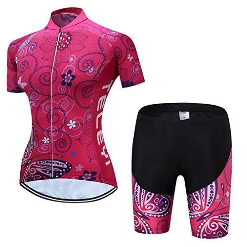 QWA Femmes Vêtements de Vélo Ensemble Cyclisme Maillots Vélo de Route Chemises Trousse + Cuissard À Bretelles Séchage Rapide Fermeture Éclair Complète Vêtements D'équitation, 3 Poches Arrière