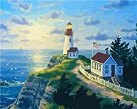 番号によるDiyペイント初心者の油絵子供番号による海辺の崖の大人の灯台絵画家族の装飾油絵