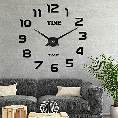Comius Sharp Orologio da Parete DIY, Moderno 3D Frameless Grande Orologio, Numero Sticker Wall Clock per Soggiorno Cucina Ufficio Decorazione, Orologio da Parete Silenzioso (Nero)