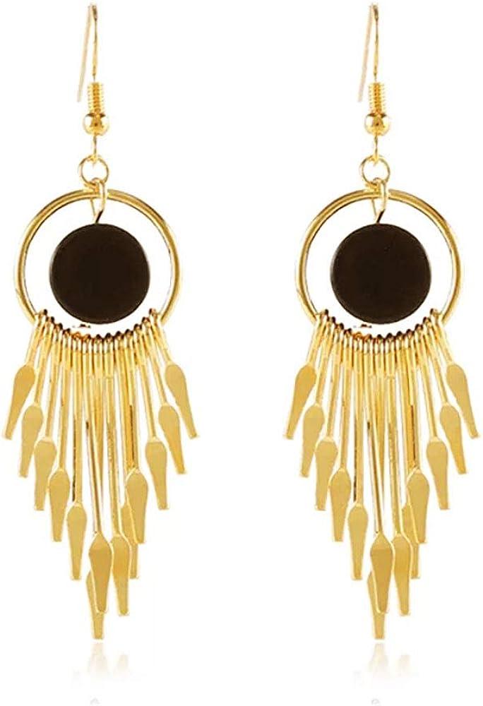 MXYZB Black Hoop Statement Tassel Earrings Gold Plated Stud Chandelier Tassel Drop Earrings Dangle for Women