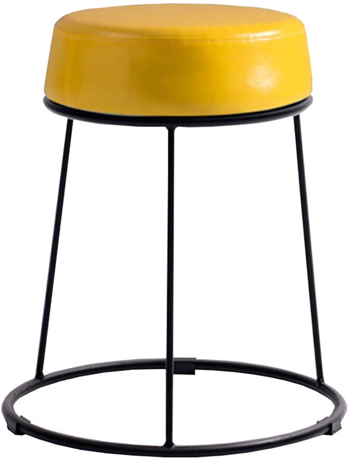 ZHAOYONGLI Stool Simple Fashion Home shoes Bench Wrought Iron Stackable Round Sofa Bench Multicolor Optional Creative Solid Durable Long Lasting (color   Yellow, Size   38.5  46.5cm)
