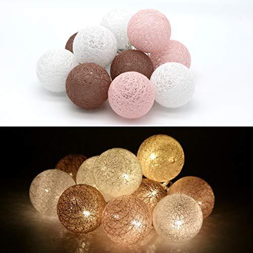 Tronje 10 LED Baumwollkugeln 6cm - 1,9m Kugel-Lichterkette 4h-Timer batteriebetrieben Lichterkugeln Braun-Rosa