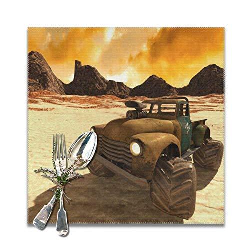Happy and Ness Desert Buggy Tischsets für Esstisch Hitzebeständige Küche Bankett Party Tischsets Set von 6 , (12x12 Zoll)