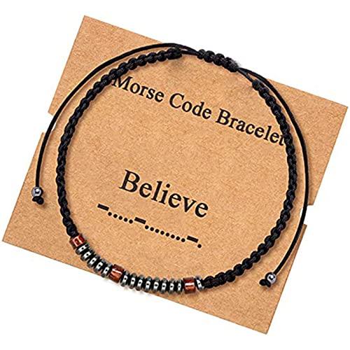 WDBK Inspiradoras Pulseras de código Morse con hematita Negra, Cuentas de Plata, joyería Ajustable, Pulsera Envolvente, Regalos para Mujeres, Hombres, día de la Madre, cumpleaños, Madre, Padre, niños