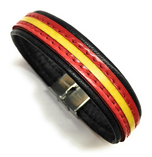YOJAN PIEL - Pulsera De Cuero Bandera De España (Fabricada Artesanalmente) | Complementos de Moda Unisex para Hombres y Mujeres de Estilo Atemporal y Elegante | Regalos Originales y Exclusivos