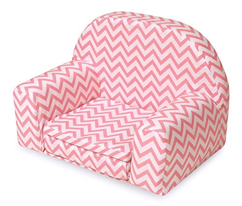 Badger Basket Chevron Upholstered Doll Chair with Foldout Bed (fits American Girl Dolls), Pink/White