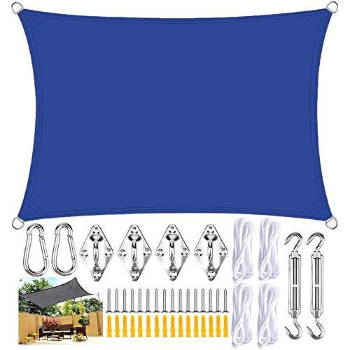 GOODSH Toldo Vela De Sombra Rectangular con Kits De Montaje Protección Rayos UV Impermeables Toldo Protección Solar para Exteriores Patio Balcón Pergola Decking,Dark Blue-3×5m(10×16.5ft)