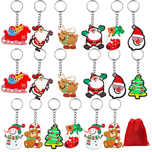 URATOT 18 Pieces Christmas Ornaments Pendant Keychains Santa Claus Snowman Christmas Stocking Gloves Keychains with Red Velvet Storage Bag Party Favors, 9 Styles