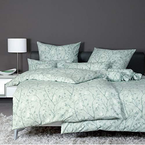 Janine Design Edelflanell Bettwäsche Chinchilla S 78038-06 rauchgrün 1 Bettbezug 155 x 200 cm + 1 Kissenbezug 80 x 80 cm