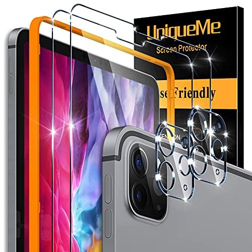 """[2+2 Pack]UniqueMe Protector de Pantalla Compatible con iPad Pro 2021/2020 12.9"""" y [2 Pack] Protector de lente de cámara Cristal Templado, [Cobertura máxima][Sin Burbujas] HD Vidrio Templado"""