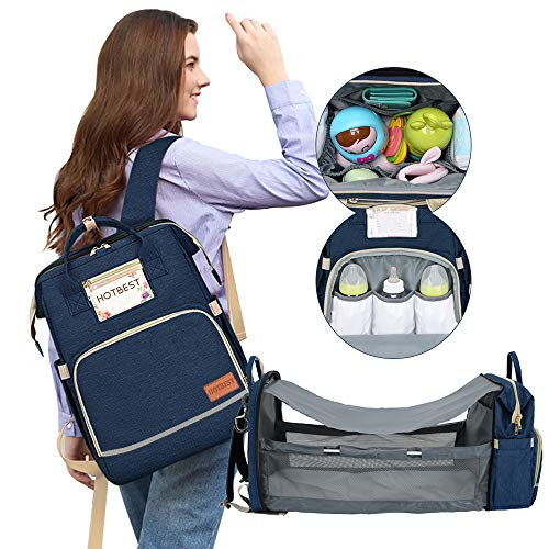 Diaper Bag with Bassinet for Baby Girl Boy Travel Portable Changing Station Backpack Organizer Insulated Pocket Baby Crib Out Bed...