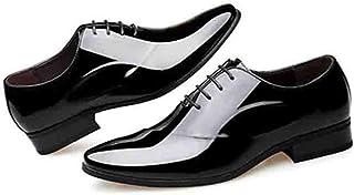[モリケイ] ビジネスシューズ メンズ 革靴 エナメル レースアップ 高級感 外羽根 ストレートチップ 軽量 透湿 防滑 オールシーズン 高級感 幅広 紳士靴 スーツ用 オフィス ドレス ホスト パーティー 男性
