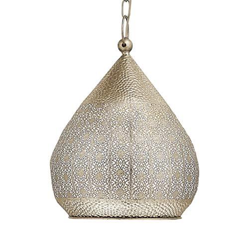 EGLO Pendelleuchte Melilla, 1 flammige Hängelampe Vintage, Orientalisch, Marokkanisch, Hängeleuchte aus Stahl in Gold, Esstischlampe, Wohnzimmerlampe hängend mit E27 Fassung, Ø 33 cm