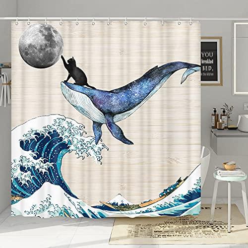 Lustiger Katzen-Duschvorhang, niedliche schwarze Katze reitet Wal in großer Ozeanwelle berührt den Mond, Vintage, Holz, kreative Kunst, wasserdichter Stoff, Duschvorhang-Sets mit 12 Haken