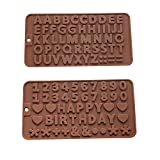 Murong 26 Letters +Happy Birthday/Numbers/Symbols Mold Chocolate Decorating Silicone Tray (2pcs)