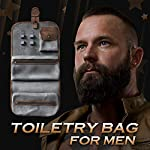Bossman Leather Hanging Toiletry Bag for Men - Water Resistant Mens Travel Toiletries Organizer - Hand Crafted Traveling… 3