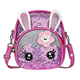 TEELONG 2020 - Mochila infantil con lentejuelas, diseño de orejas de conejo, color Rosa, talla Talla única