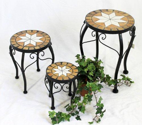 DanDiBo Blumenhocker Mosaik Rund 3er Set 20, 27, 37 cm Blumenständer 12014 Beistelltisch Pflanzenständer Mosaiktisch Klein
