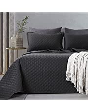 HOMBYS 3 Piece Oversized King Quilt Set Bedspread 128x120 Reversible Lightweight Coverlet Summer Comforter Set (Super King Plus (128x120), Black)