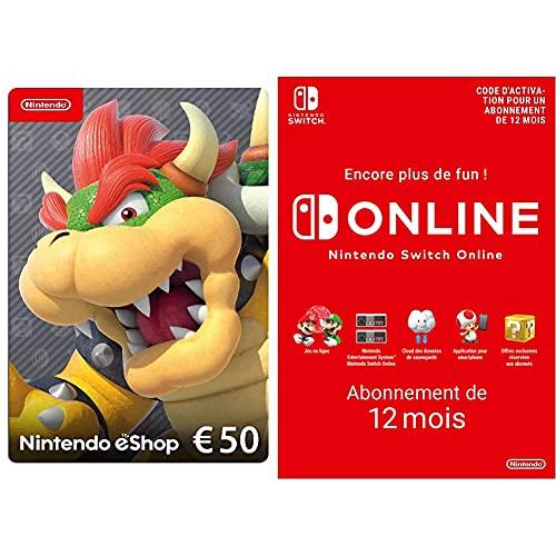 Carte Nintendo eShop 50 EUR (Code de téléchargement) + Nintendo Switch Online - Abonnement 12 Mois (Code de téléchargement)