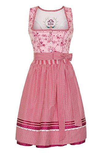 Edelheiss Moser Trachten Baumwolle Mini Dirndl 60er rosa-pink-karo Anke 130946, Rocklänge: ca. 60cm, mit Knopfleiste, Größe 40