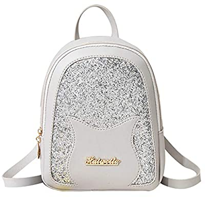 Cute Sequin Lady Shoulders Small Backpack Cat P...