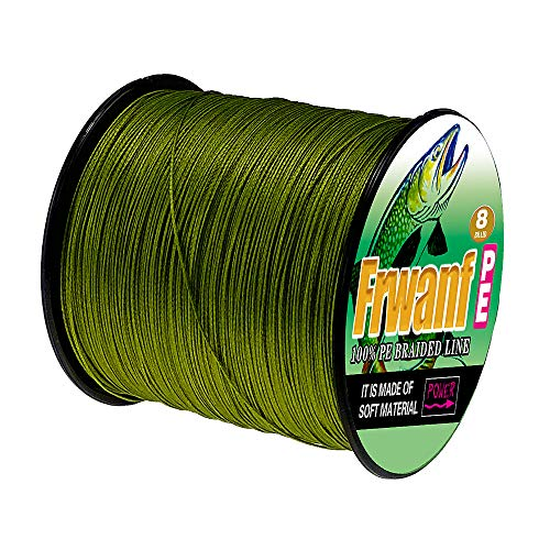 Frwanf Braided Fishing Line 8 Strands Super Strong PE Fishing String ExtremePower Fishing Braid Line for Saltwater and Fresh Water 50LB Test 500M/547Yards Army Green