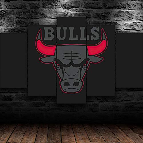 Equipo de Baloncesto de la NBA 5 Piezas de Arte Marco Cuadros Decoracion Salon,Moderno HD sobre lienzos impresión Cuadro Usado para Sala Oficina Hogar Decoracion de Pared(H-55 cm x M/B-100 cm)