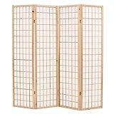 vidaXL Biombo Plegable 4 Paneles Estilo Japonés 160x170cm Natural Decoración