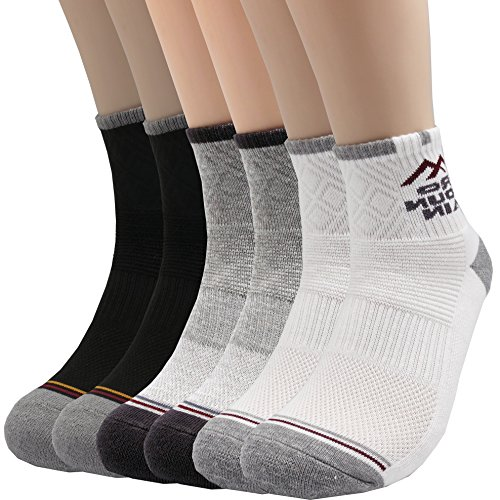 Pro Mountain Cotton Quarter Socks - For Hiking Athletic Sports Workout Work Boot (M (US Women Shoe 8~10 = Men 7~9, size 10), Black White Grey assorted 2 each total 6 pairs Pack)