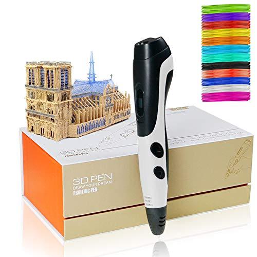 Los bolígrafos 3D, la Pluma de impresión 3D con 12 Colores PLA Filamento, Lápiz de Dibujo 3D Creativo DIY, Juguetes para Inspirar a los niños Adolescentes,White
