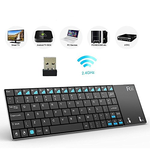 (Newest Version) Rii K12+ Mini Wireless Keyboard with Touchpad Mouse, Stainless Steel Portable Wireless Keyboard with USB Receiver for MacBook/iPad/Tablet/PC/Laptop/Smart TV/Raspberry Pi - Black