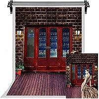 HD深紅のレンガの壁の背景赤いドア白い木の床の肖像画背景写真スタジオの小道具7x10ftFSYM053
