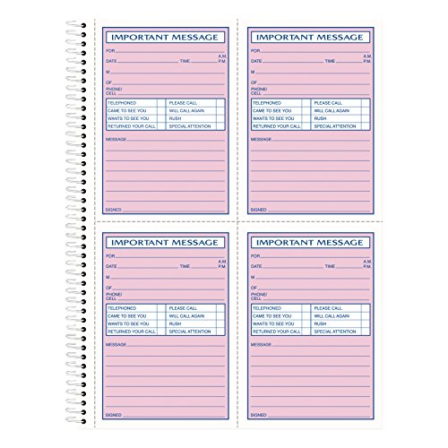 TOPS Phone Message Book, Spiral Bound, 2-Part, Carbonless, White and Canary, 4 Messages per Page, 400 Sets (4009)