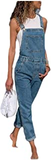 Zimaes Womens With Pocket Over Sized Denim Overalls Pant Jeans Jumpsuits