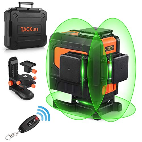 Laser Level, 3 x 360-Degree Self-leveling Green Cross Line Laser Tool, 132 Feet with Remote Control, Pulse Mode, Adjustable Magnetic Base and 5200 mAh Rechargeable Li-ion Battery - SC-L12
