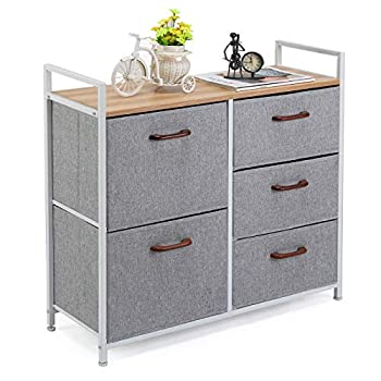 MaidMAX Storage Cube Dresser Home Dresser Storage Tower Constructed by Painted Steel Wooden Top and 5 Foldable Cloth Storage Cubes Gray